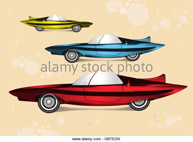 Futuristic super car mid century illustration - Stock Image