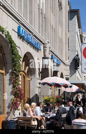 Switzerland Zuerrich Zurich Kaufleuten street cafe people - Stock Image