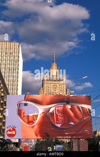 Moscow Russia Coca Cola Sign Old Style Soviet Building - Stock Image