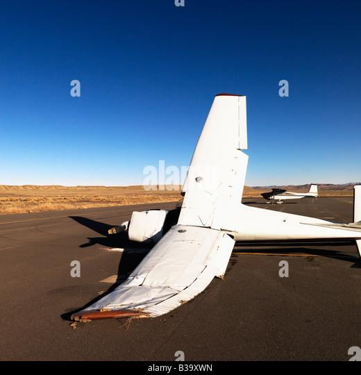 Crashed plane on tarmac at Canyonlands Field Airport Utah United States - Stock Image