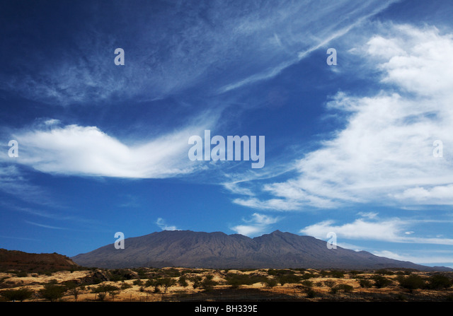 View of Fogo island from the Sao Filipe airport, Fogo, Cape Verde on Wednesday January 6, 2010. - Stock Image
