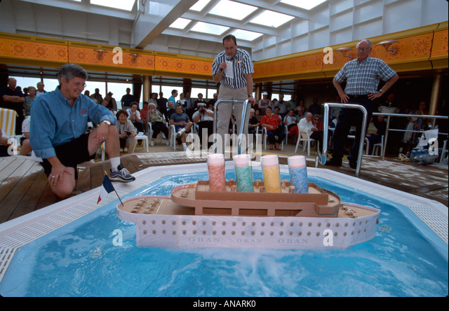 Italy Holland America Line ms Rotterdam cruise ship passengers ship building competition model floating - Stock Image
