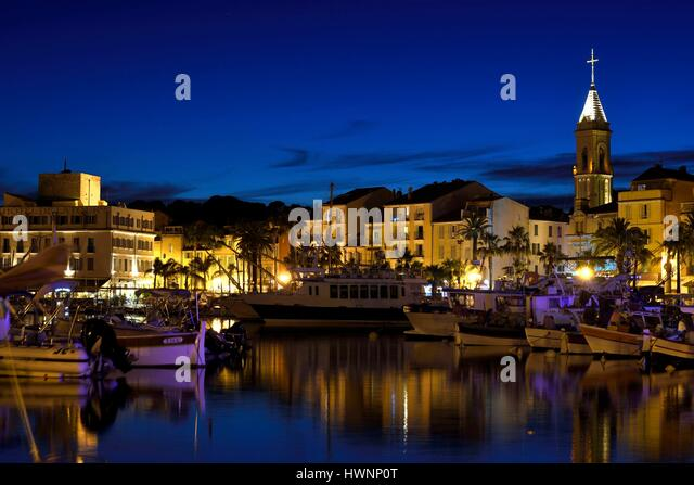 France, Var, Sanary sur Mer, the port, traditional fishing boats, the Pointus, church, Tour Romane - Stock-Bilder