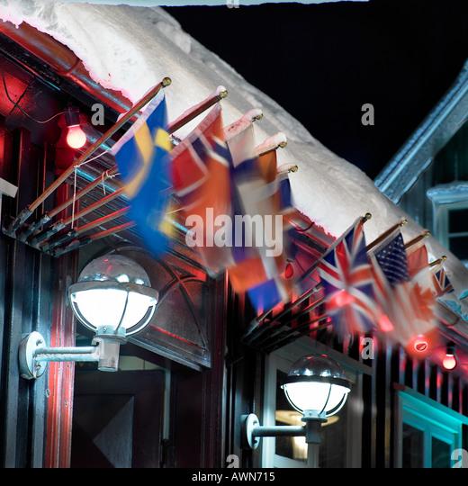 International Flags Reykjavik Iceland - Stock-Bilder