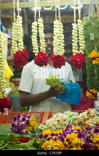 flower garlands are being sold in little india in Singapore, in the month of Dewali - Stock-Bilder