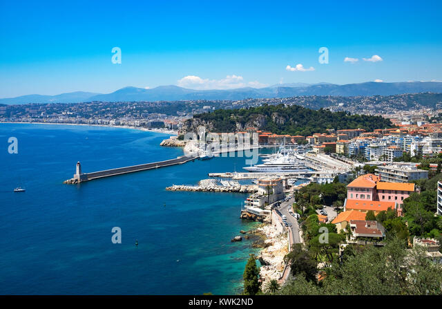 port and marina in the city of nice, french riviera, france. - Stock Image