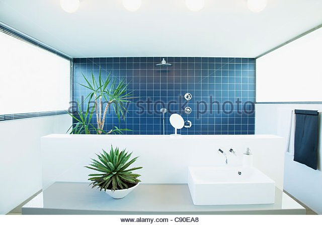 Open shower in modern bathroom - Stock Image