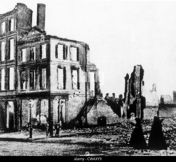 The ruins of Richmond, Virginia at the end of the Civil War, 1865 - Stock Image