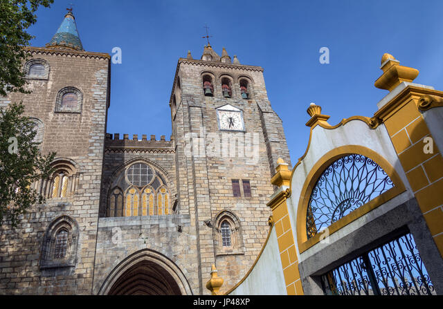 Evora Cathedral (the Se) in the city of Evora in Portugal. Evora is a UNESCO World Heritage Site - Stock Image