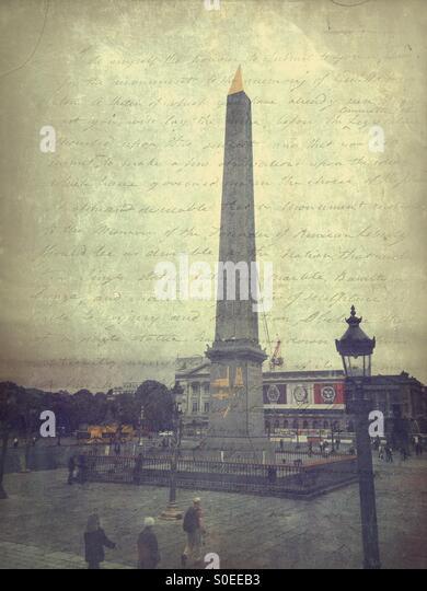 Obelisk at Place de la Concorde, a public square in Paris, France. French capital's eighth arrondissement.  - Stock Image