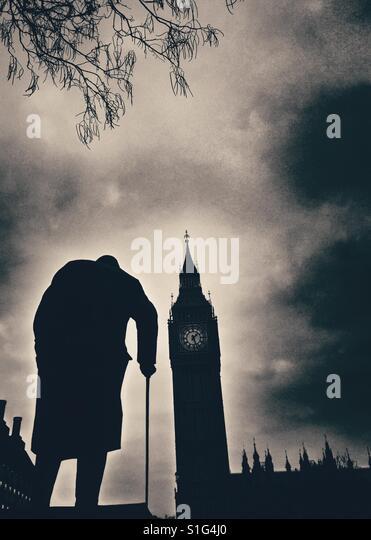 Winston Churchill Statue and Big Ben, Parliament Square, London. Black and white - Stock-Bilder