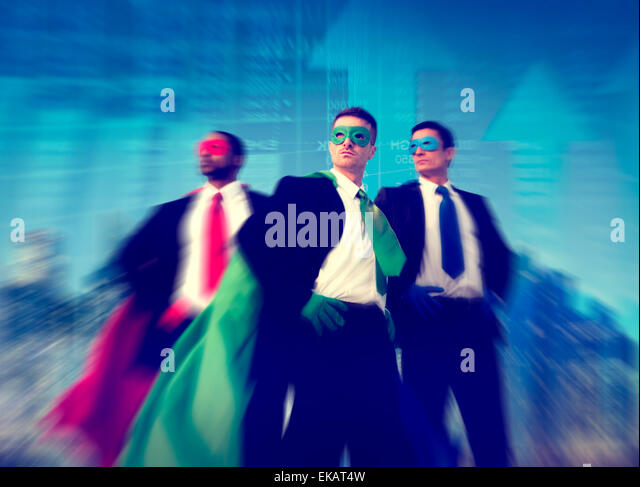 Superhero Businessman Stock Market Concept - Stock Image
