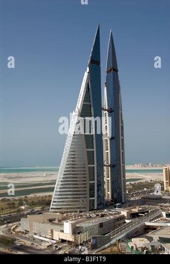 Aerial view World Trade Centre Manama Bahrain - Stock Image