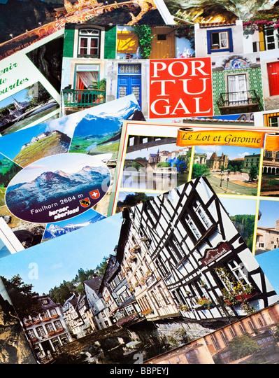 Postcards pile, European travel close up - Stock-Bilder