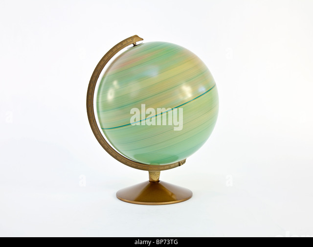 Fast spinning vintage globe of the world. - Stock Image