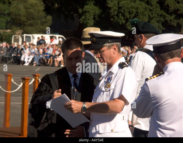Naval Officers and dignitaries start to assemble at Alameda Grand Parade ground for the Honorary Freedom the City - Stock Image