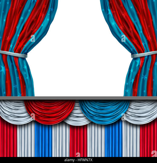 American politics blank stage or presidential inauguration and inaugural president ceremony or election concept - Stock Image