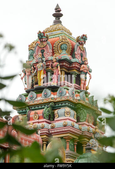 Hindu temple at Bel Air in Mauritius. - Stock Image