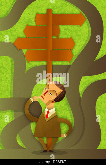 Illustrative image of confused businessman with signboards - Stock Image