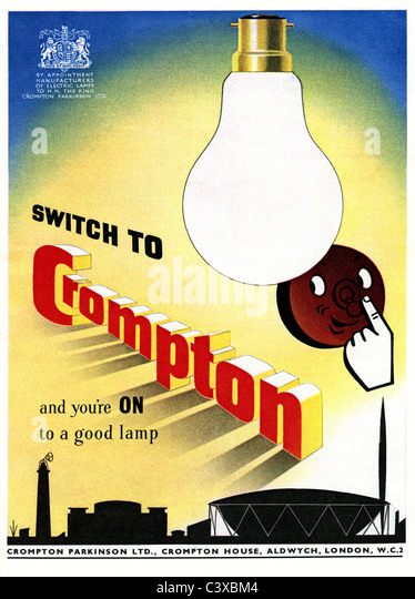 Advertisement for Crompton, from The Festival of Britain guide, published by HMSO. London, UK, 1951 - Stock-Bilder