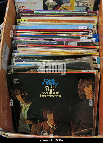 Box of old LP 12' Vinyl Records, local market England - Stock Image