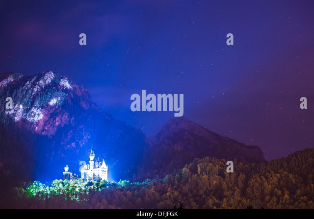 Neuschwanstein Castle at night in Fussen, Germany. - Stock Image