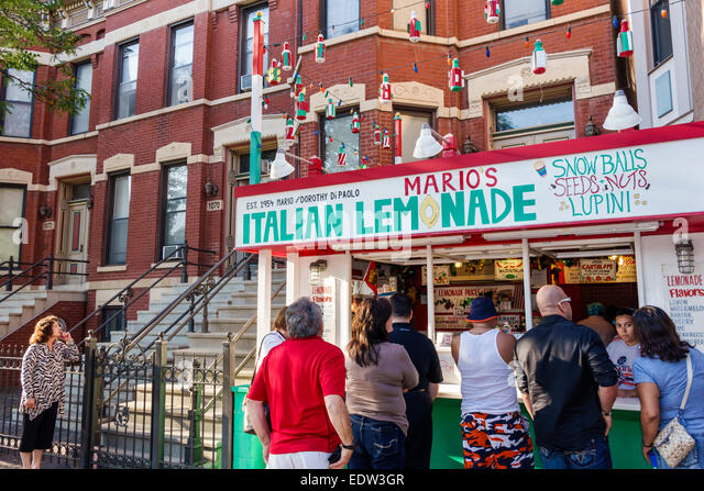 Illinois Chicago Little Italy West Taylor Street Mario's Italian Lemonade stand concession customers line queue - Stock Image