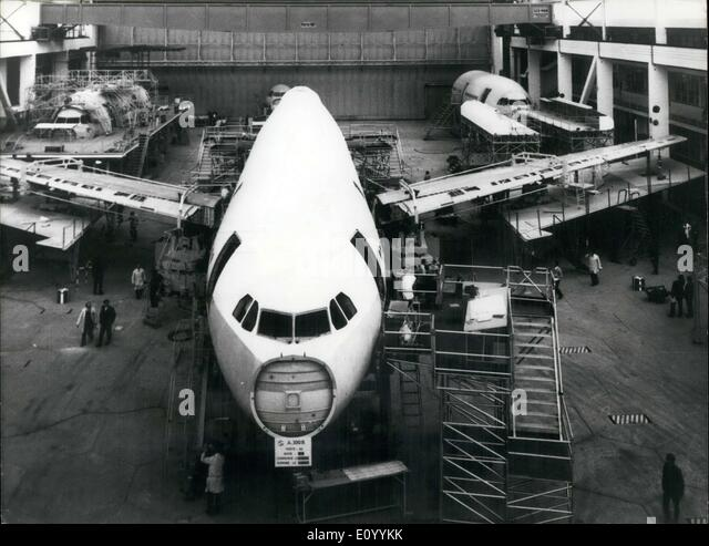 Dec. 03, 1971 - Fuselage of Airbus A 300 B on Assembly Line at Airbus Industrie - Stock Image