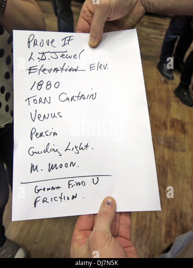 Television concert Manchester Academy 17/11/2013 setlist - Stock Image