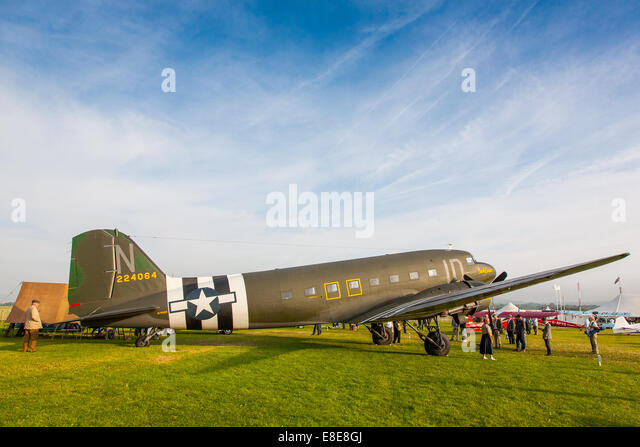 1942 Douglas C-47 Dakota at the  Goodwood Revival 2014, West Sussex, UK - Stock Image