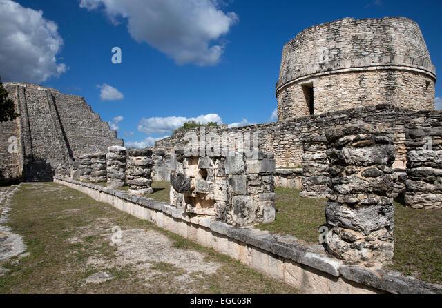 Mayan ruins at Mayapan, Yucatan, Mexico - Stock-Bilder