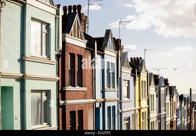 Row of terraced houses in Brighton - Stock Image