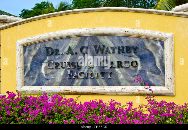 St Maarten cruise port sign  Dr A C Wathey Cruise port sign - Stock Image
