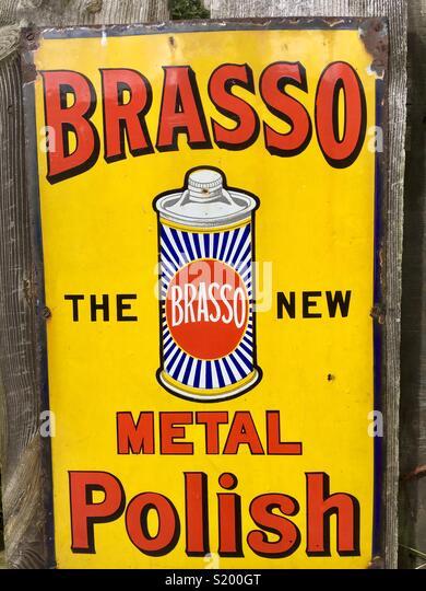 Brasso metal polish, historic advert - Stock Image