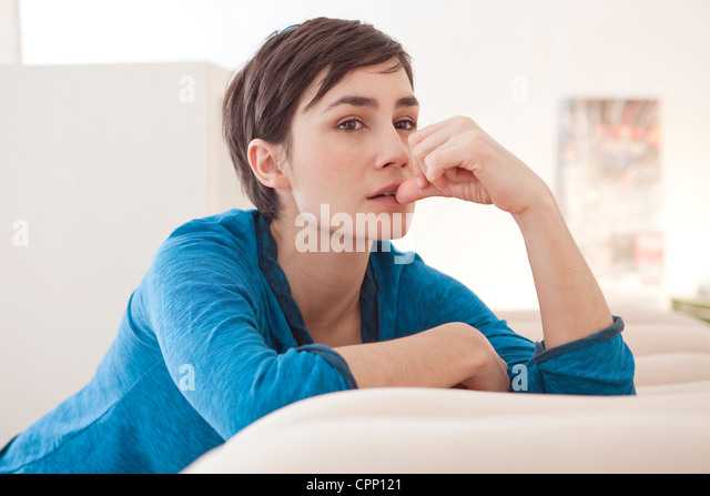WOMAN INTERIOR - Stock Image