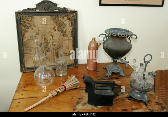 St. Thomas USVI Charlotte Amalie Blackbeard's Hill Haagensen House Museum built 1827 colonial accessories - Stock Image