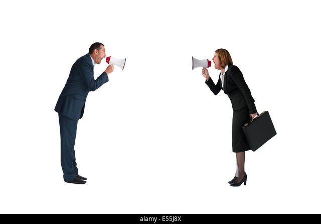 business concept conflict megaphone businessman and businesswoman isolated on white - Stock-Bilder