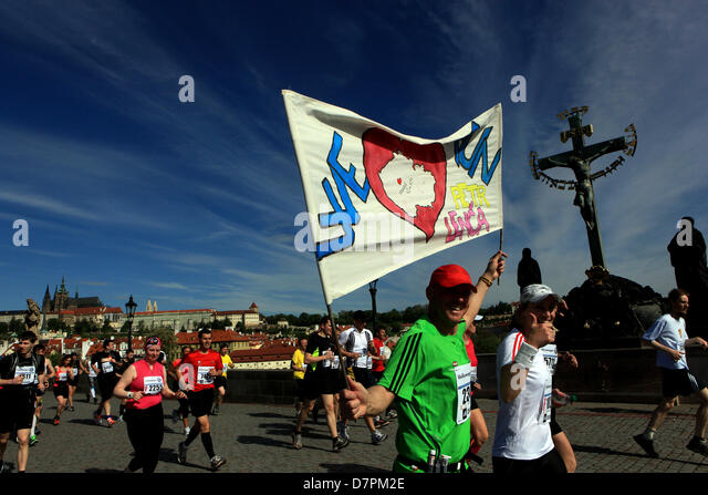 Czech Republic Prague 12th May 2013 Volkswagen Marathon 2013. One of the most beautiful marathons in the world. - Stock Image