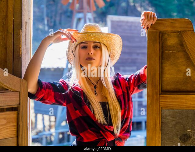 Attractive .beautiful blonde young woman - Stock Image