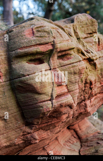 Carved rock face stock photos