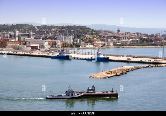Cagliari Port, Sardinia, Europe,   landmark harbour harbor holiday vacation destination outside outdoor outdoors - Stock Image
