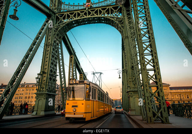 Chain Bridge and tram - Stock Image