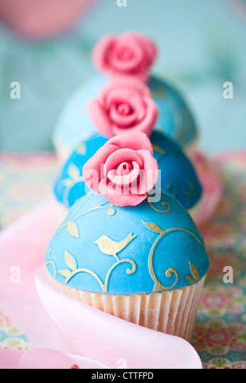 Vintage style cupcakes - Stock Image