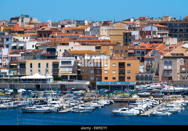 the marina in the town of palamos in the catalonia region of spain. - Stock Image