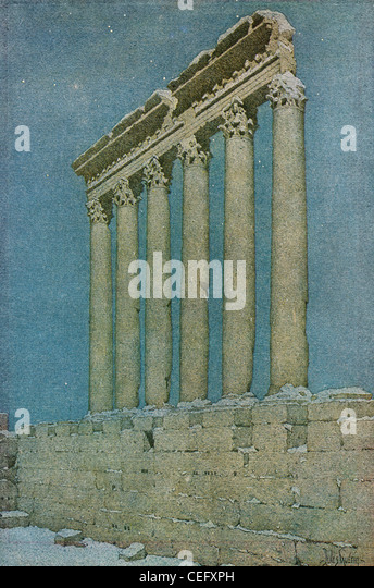 "Plate 20, ""The Columns of the Sun,"" Baalbec, Lebanon, by Jules Guerin, 1920, J. H. Jansen, Cleveland, Publisher. - Stock Image"
