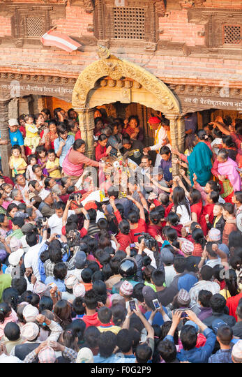 Bisket Jatra celebrations of the new year in Bhaktapur, Nepal - Stock Image