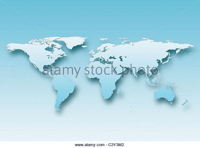 map, world, europe centered, blue, - Stock Image