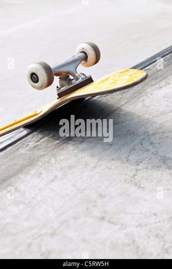 Germany, NRW, Duesseldorf, Skateboard at public skatepark - Stock Image