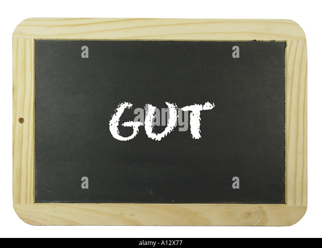 chalkboard with the text Gut - Stock Image