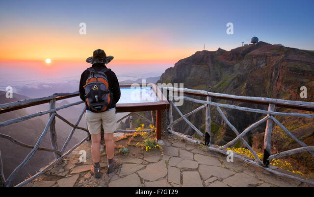Madeira mountains - sunrise on the way to Pico Ruivo, Madeira Island, Portugal - Stock Image